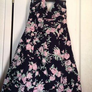 Vintage H&M 50's Garden Style Party Halter Dress